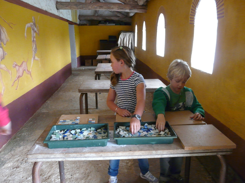 mosaic making at butser ancient farm - navigating by joy homeschoolers