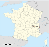 Map of France showing Tignes jpg