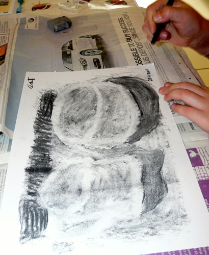 drawing with an eraser art project for kids