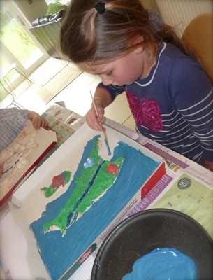 salt dough map painting