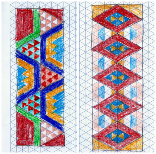 Maori taniko designs on isometric graph paper