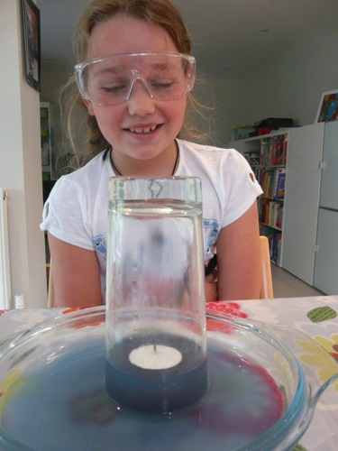 air pressure experiment with water and candle