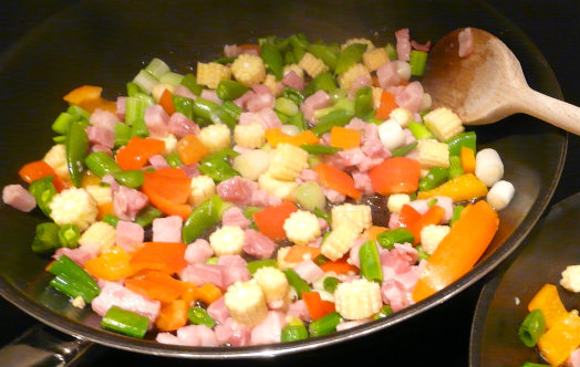 Pancetta & veggies to serve with pasta - quick and nutritious - my kind of meal!