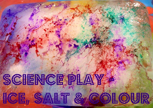 Science play ice salt and colour