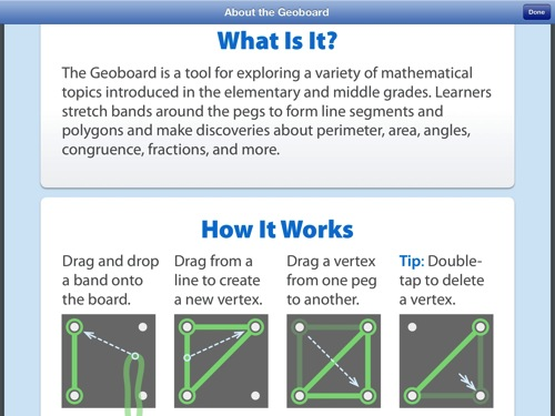 geoboard math app - best homeschool apps