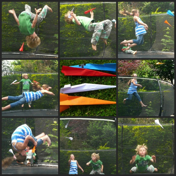 Paper aeroplanes on the trampoline