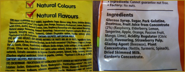 Gummy bear and jelly baby ingredients