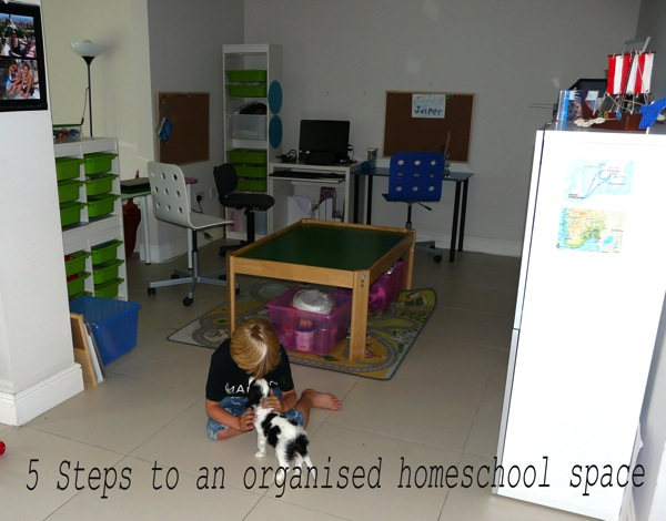 5 steps to an organised homeschool space