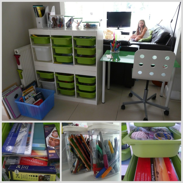 Organised homeschool space