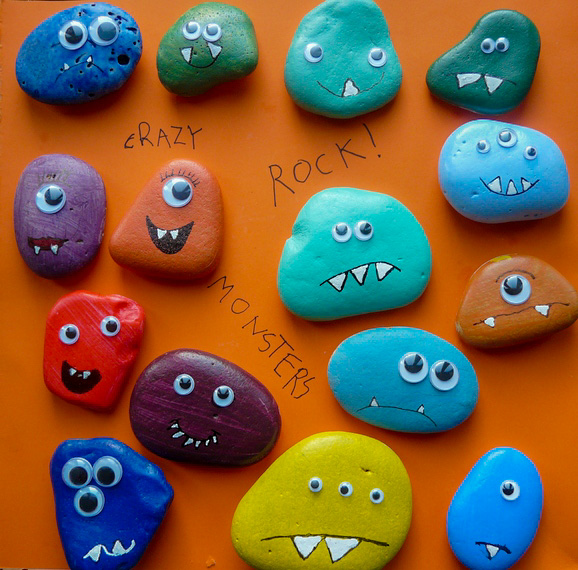 Easy Halloween Craft - Cute Rock Monsters