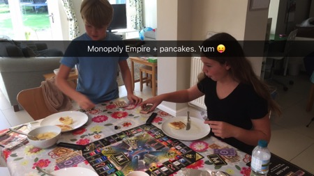 Unschooling on Snapchat - playing Monopoly Empire