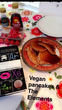 Unschooling on Snapchat - vegan pancakes and The Elements book